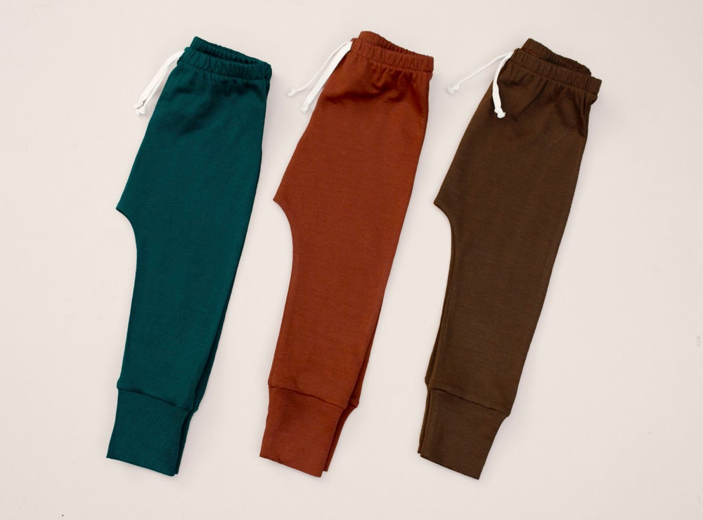 Image of New emerald, fox, acorn merino basic pants
