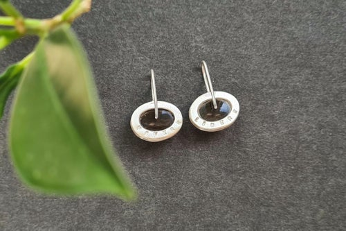 Image of silver earrings with smoky quartzes VIVERE LIBERE