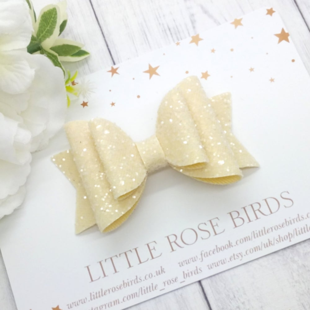Image of Cream  Glitter Bow - Choice of Headband or Clip