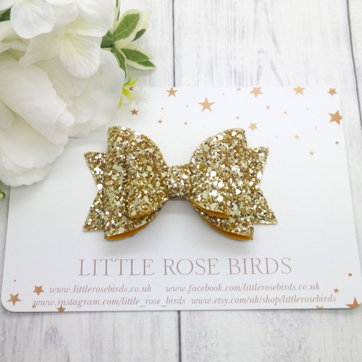 Image of Gold Glitter Bow - Choice of Headband or Clip