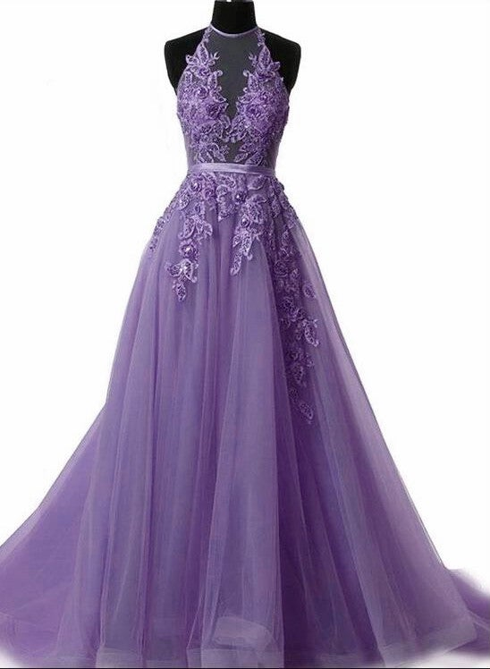 Lovely Light Purple Tulle Halter Long Evening Gown, Backless Party Dress