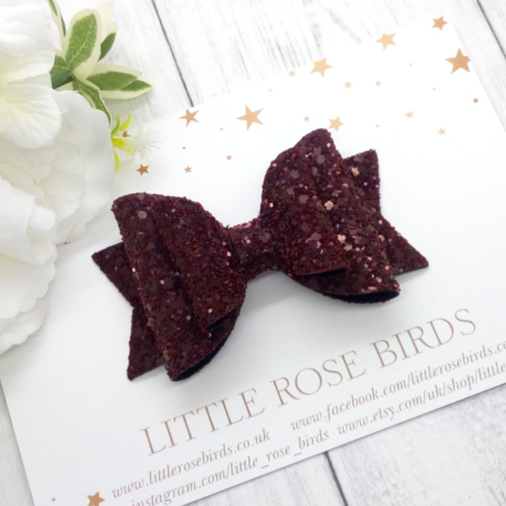 Image of Burgundy Glitter Bow - Choice of Headband or Clip