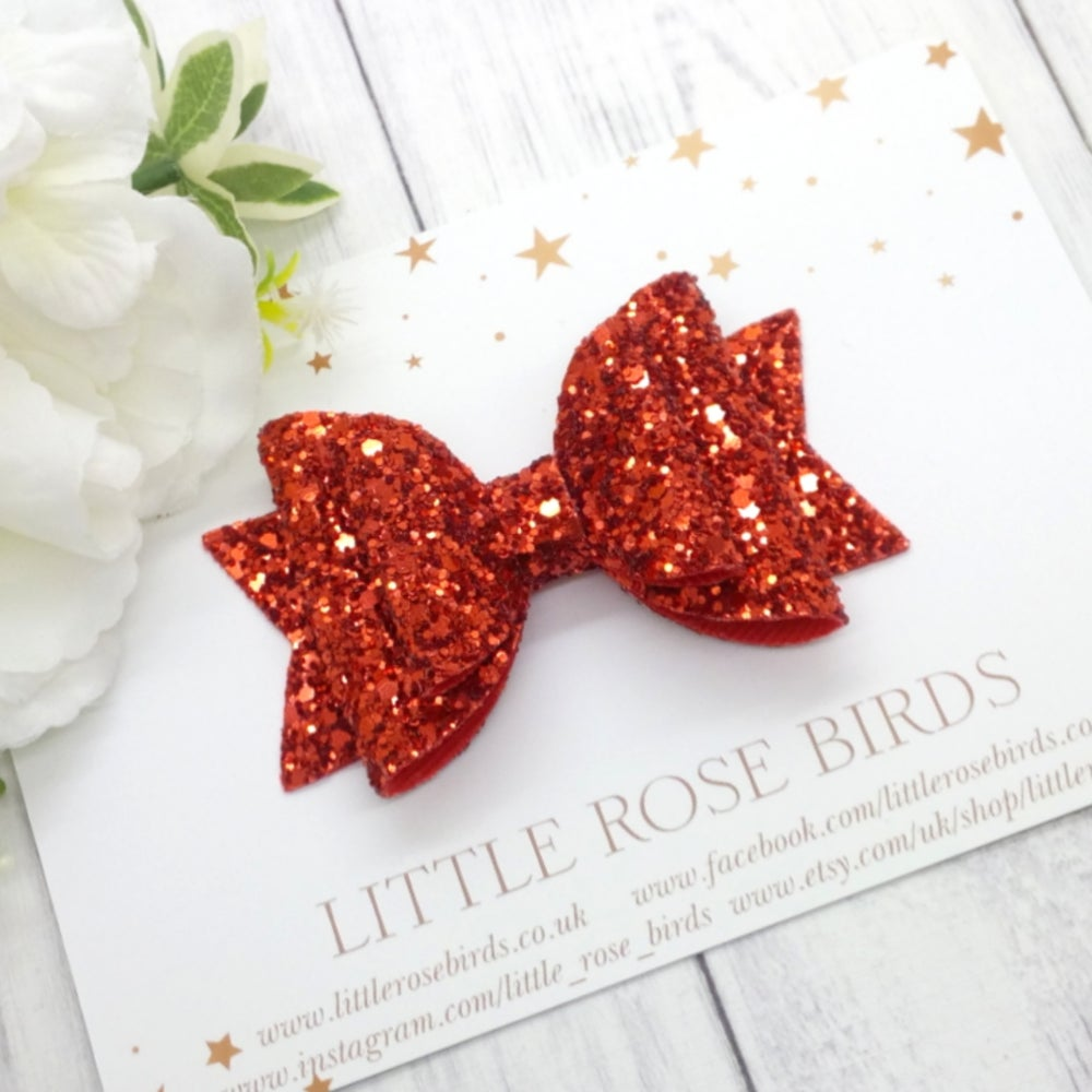 Image of Red Glitter Bow - Choice of Headband or Clip
