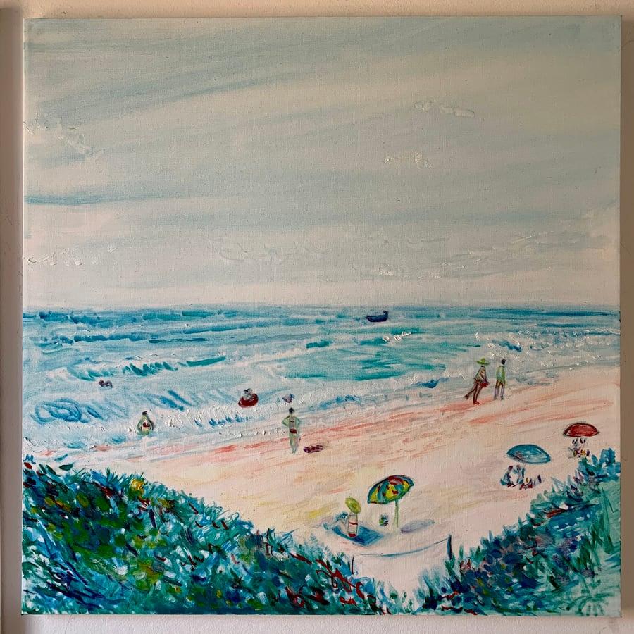 """Image of Playa de La Luna II 30"""" x 30"""" painting"""