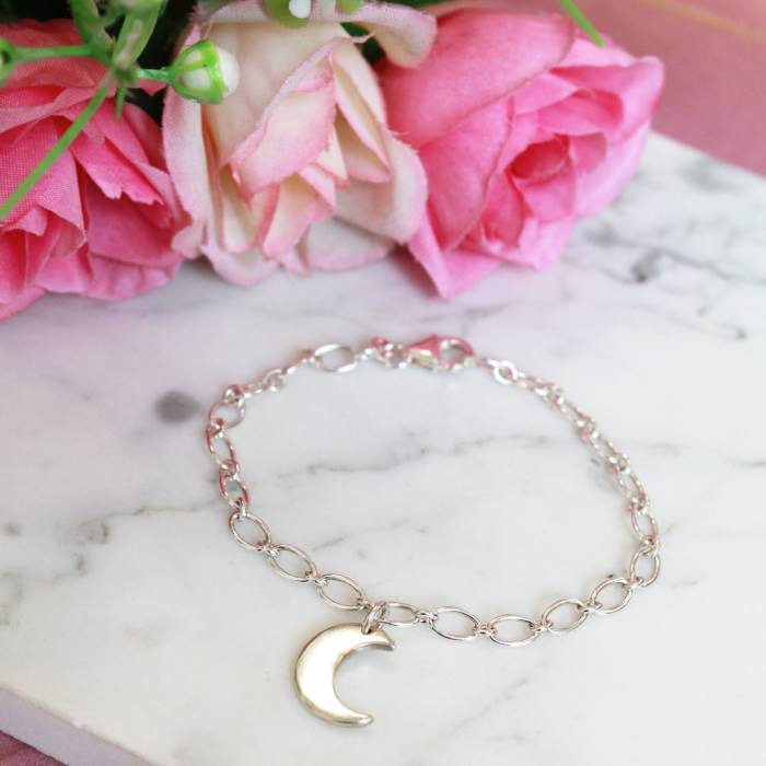 Image of Little Moon Sterling Silver Charm Bracelet