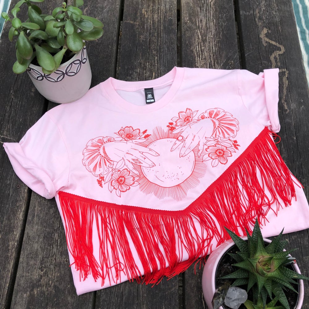 Image of Limited Edition Fringed Crystal Ball Tee Pink/Red