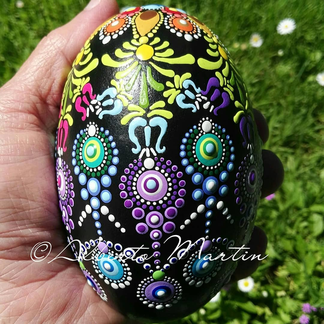 Image of Spring 1-2020. Multicolored dot art painted egg-shaped stone Spring by ALBERTO MARTIN