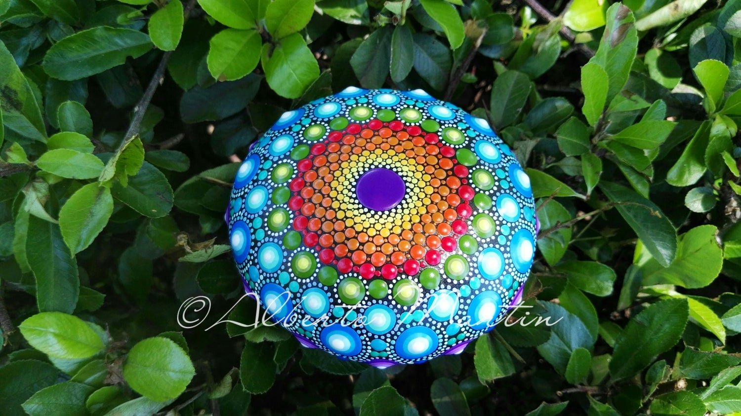 Image of Spring 3-2020. Rainbow Mandala painted stone by Alberto Martin