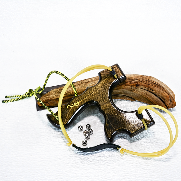 Image of Birchwood Sling Shot, Black Stained Catapult for left or right handed shooters