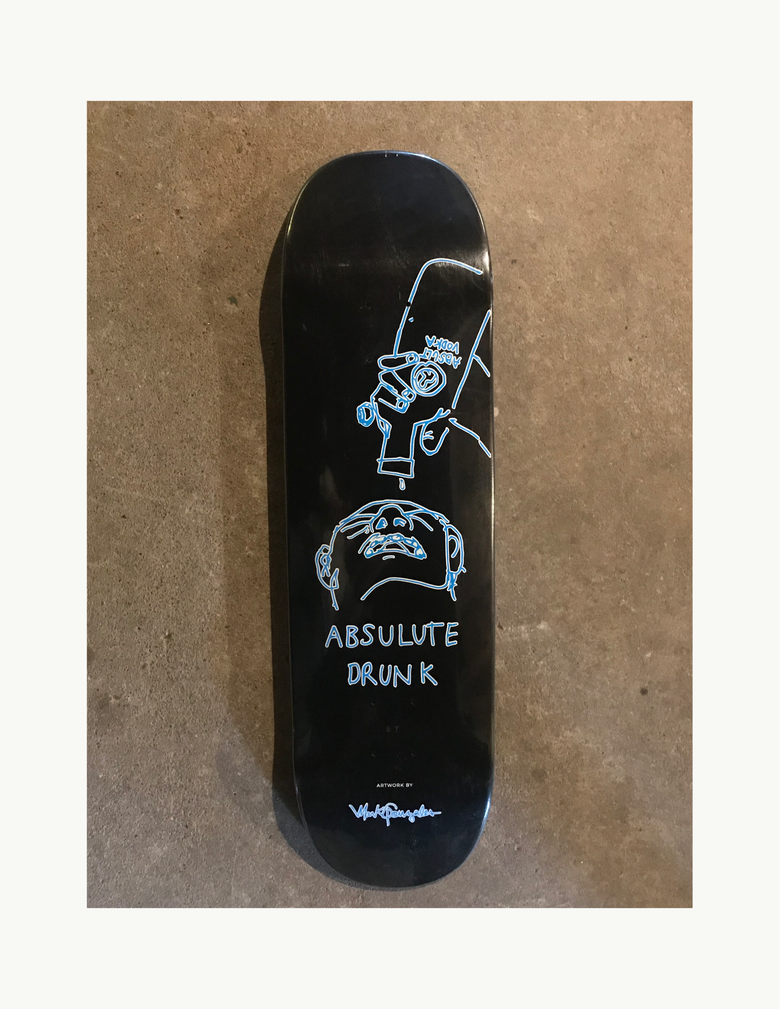 "Image of Street shape ""Absolute Drunk"" Guest Art decks. Black graphic, random color tops."