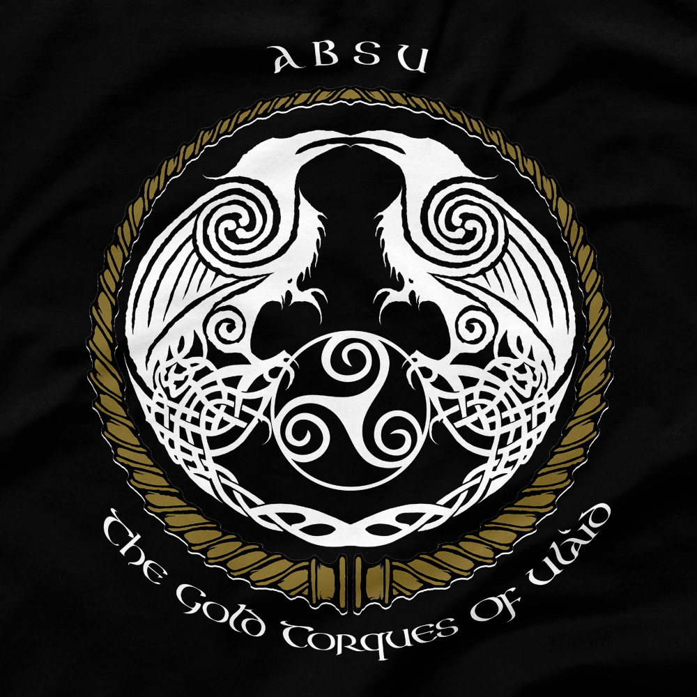 Image of ABSU - THE GOLD TORQUES OF ULAID (GOLD & WHITE PRINT) 1