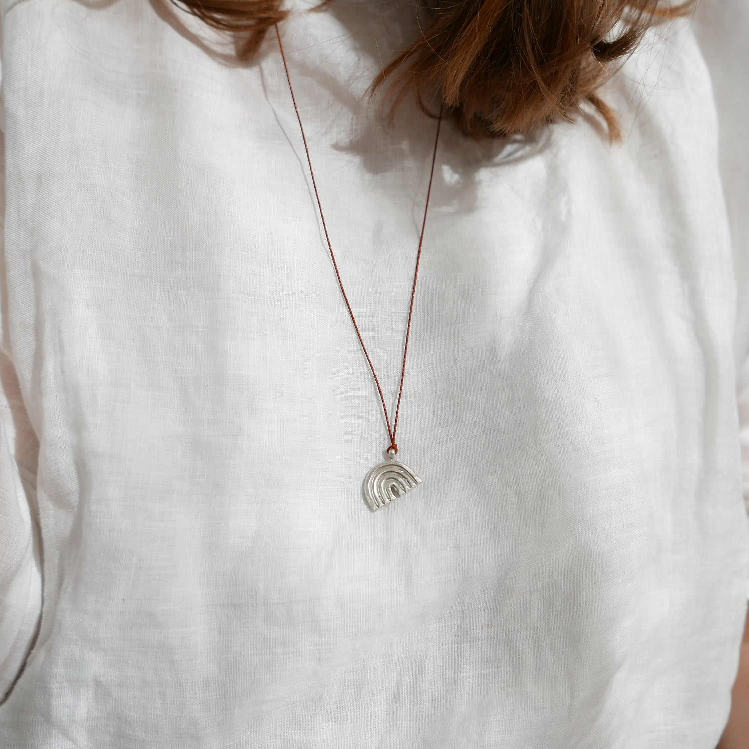 Image of Rainbow Charm Necklace - Silver + Brick
