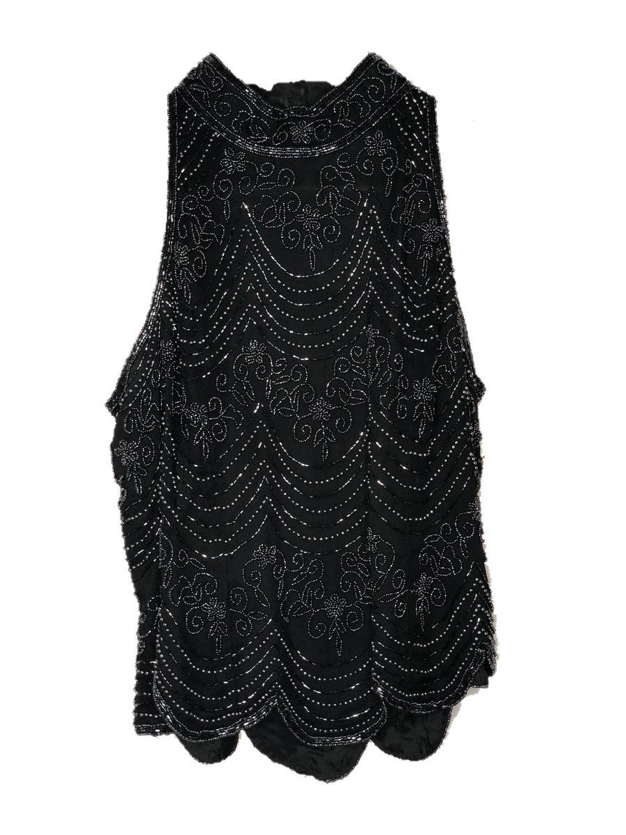 Image of Black & Pewter Sequin Blouse