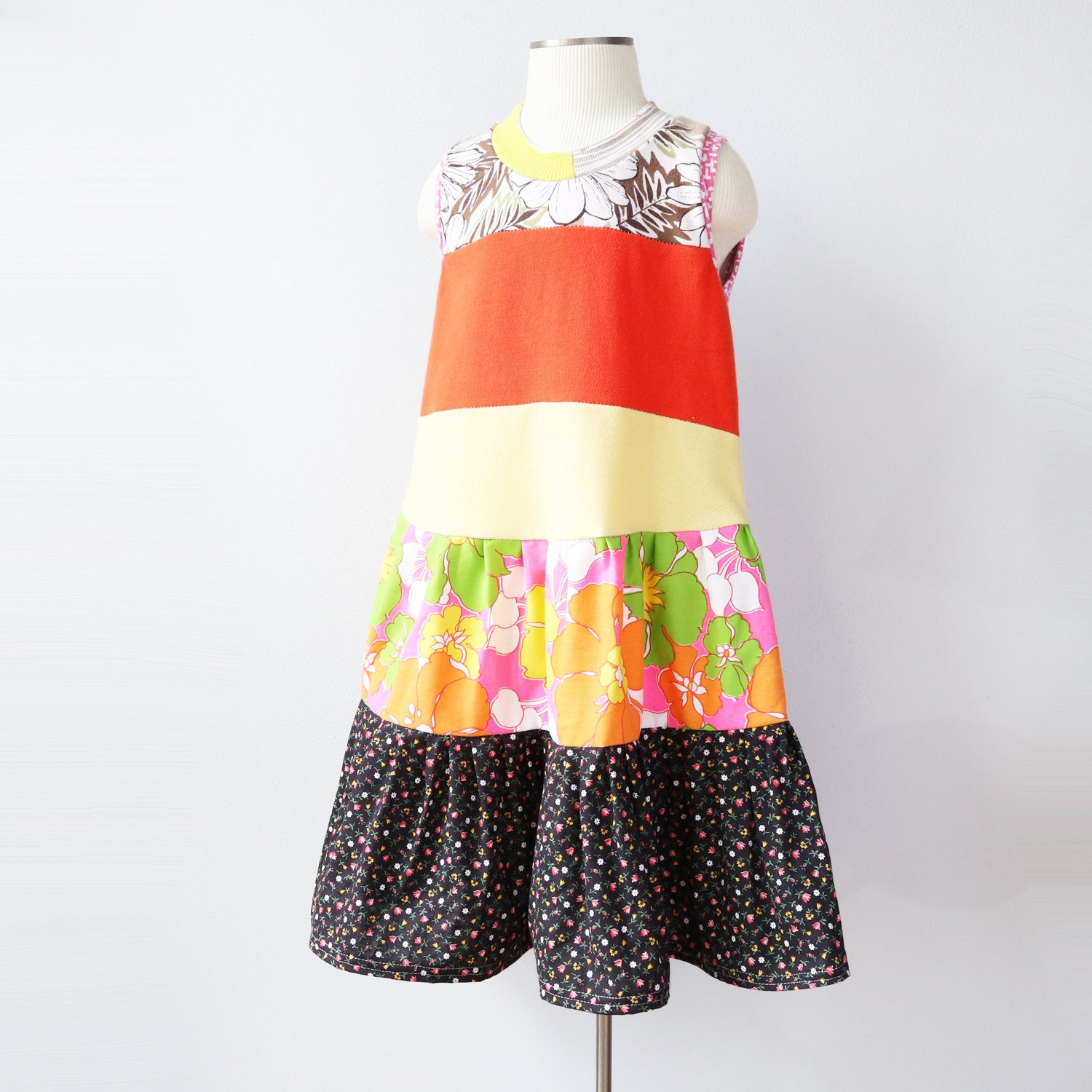 Image of decades floral 5/6 orange yellow flower flowers sleeveless tank swing dress
