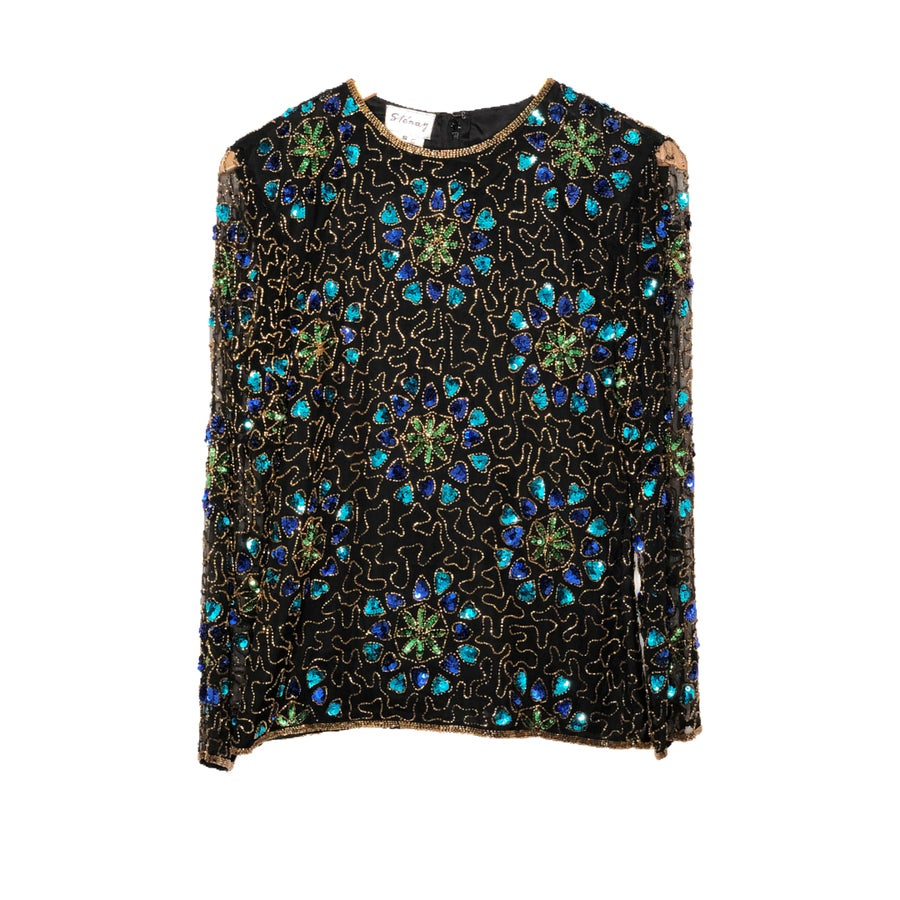Image of Blue Flower Sequin Top