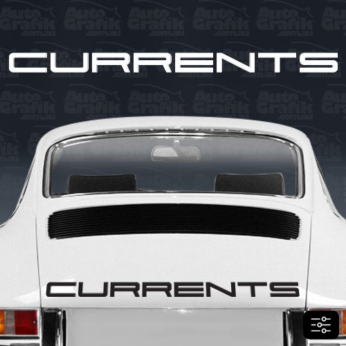Image of CURRENT-S POSITIVE TYPE ENGINE LID DECAL - YOUR CUSTOM TEXT
