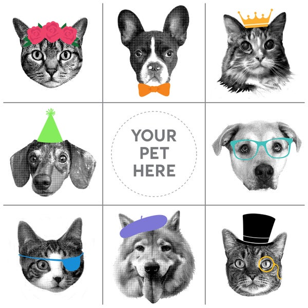 Image of Custom Pet Art - Pet Portrait - Custom Pet Greeting Cards