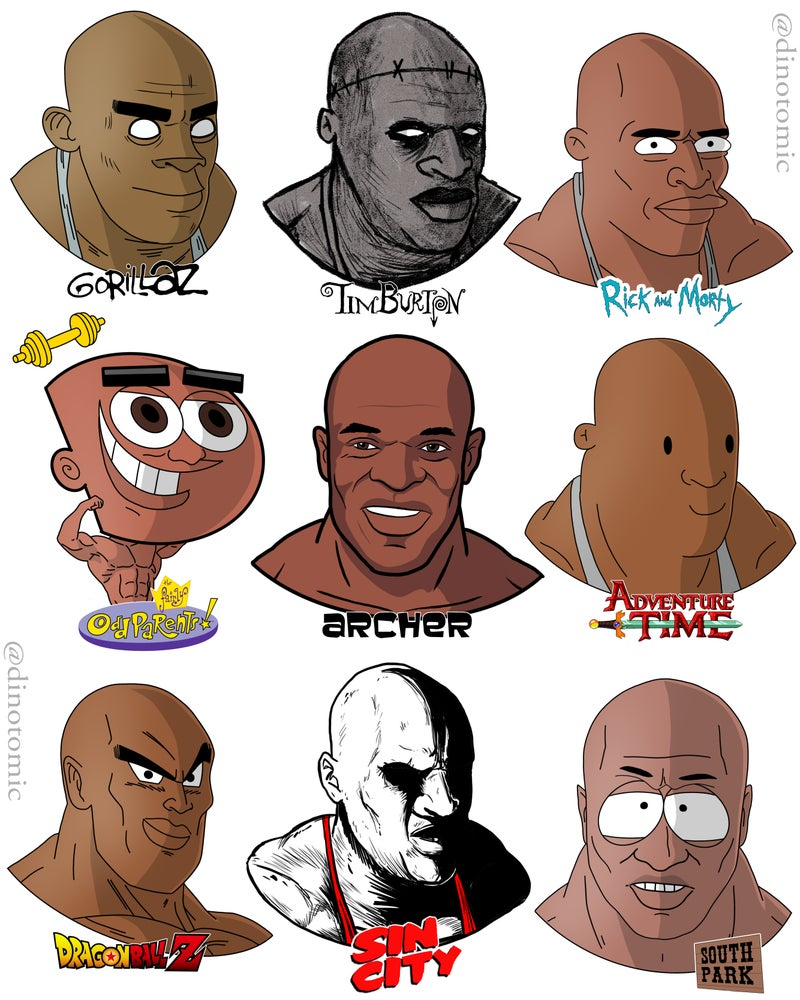 Image of #212 Ronnie Coleman drawn in different styles