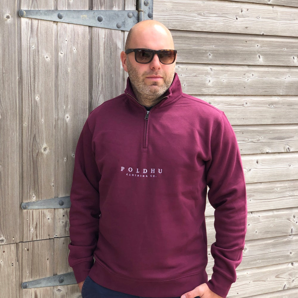 1/4 ZIP SWEAT - BURGUNDY