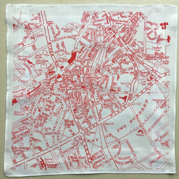Image of Harrogate Hankie vintage map handkerchief