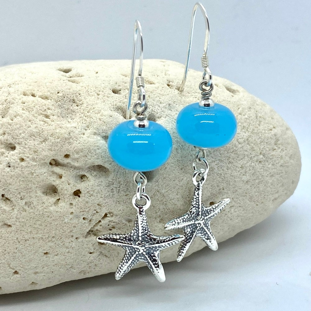 Image of Beach Blue Starfish Dangle Earrings