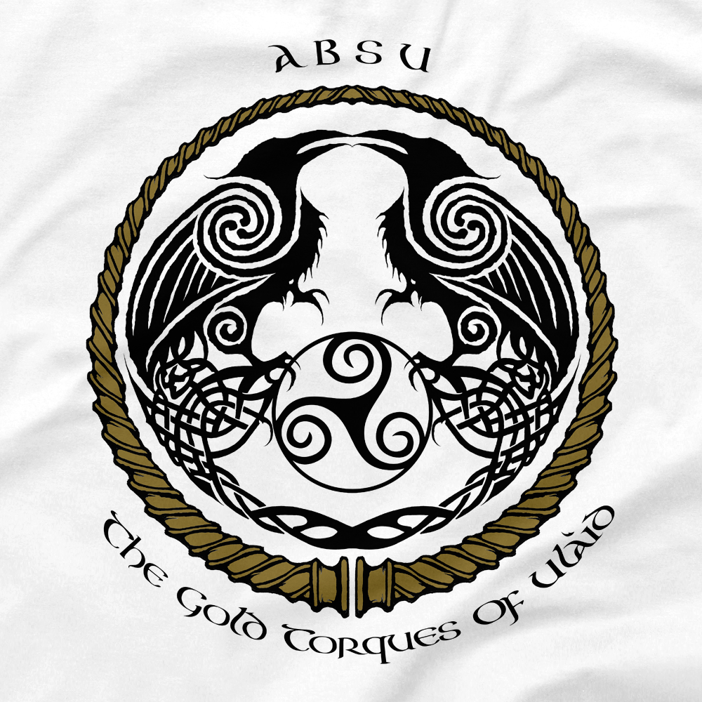 Image of ABSU - THE GOLD TORQUES OF ULAID (GOLD & BLACK PRINT) 3