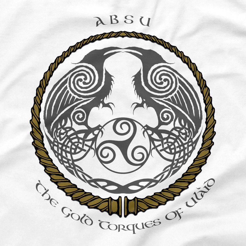 Image of ABSU - THE GOLD TORQUES OF ULAID (GOLD & GREY PRINT) 2