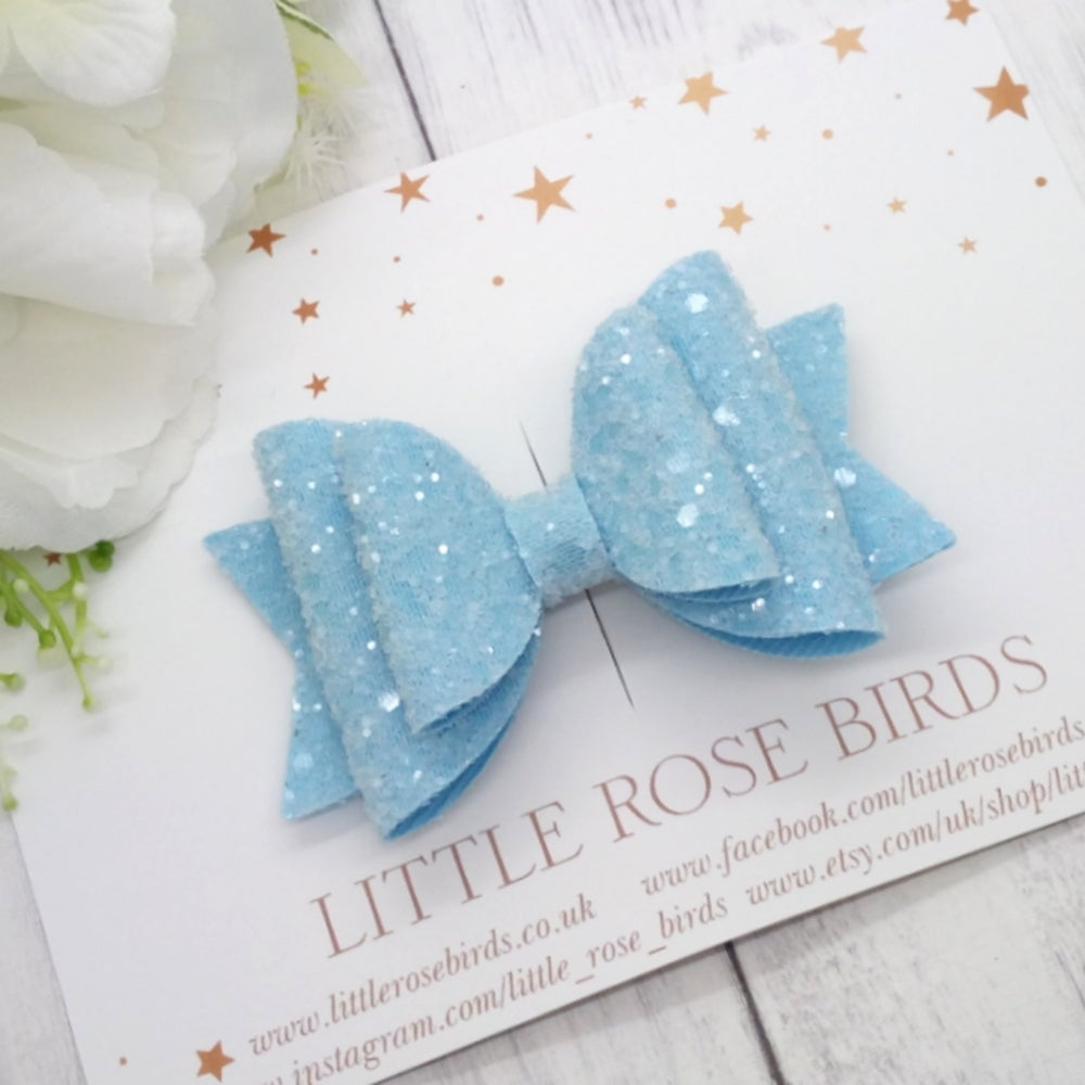 Image of Blue Glitter Bow - Choice of Headband or Clip