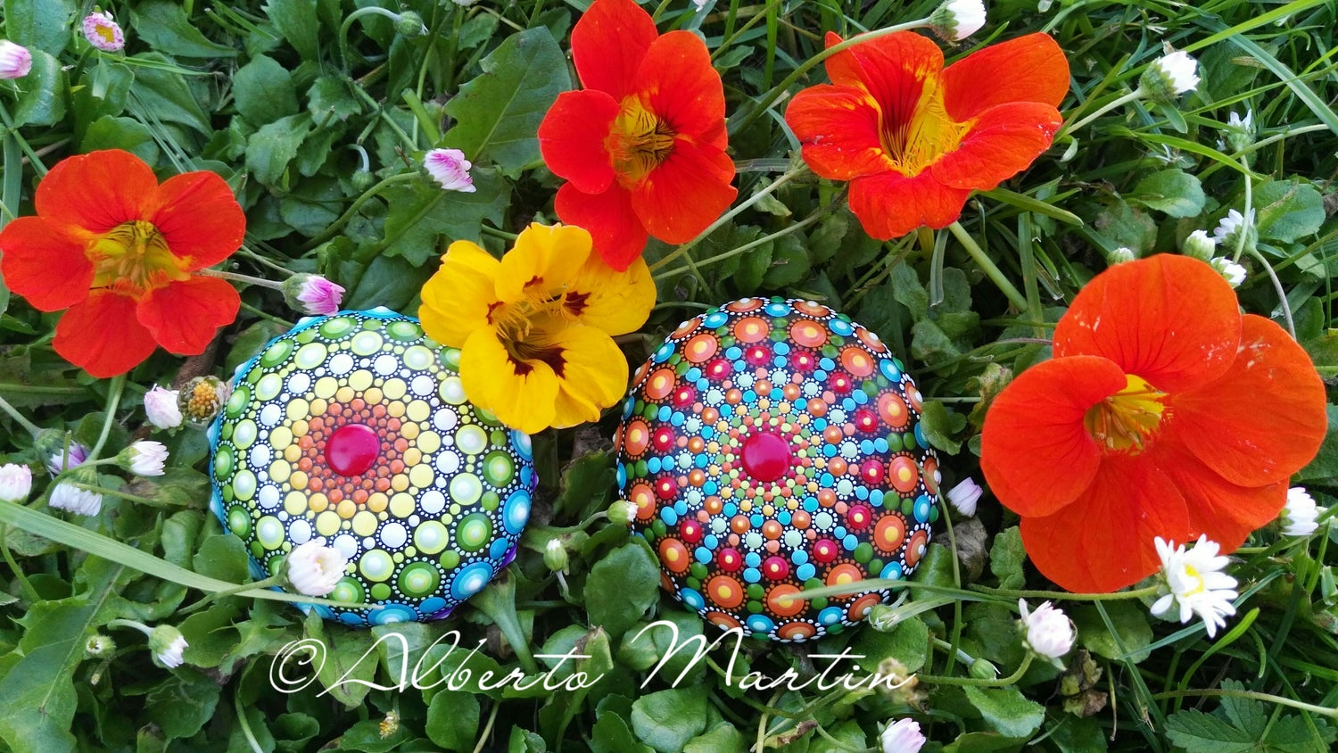 Image of Spring 4-5 2020. SET OF 2 New Mandala stones  by ALBERTO MARTIN