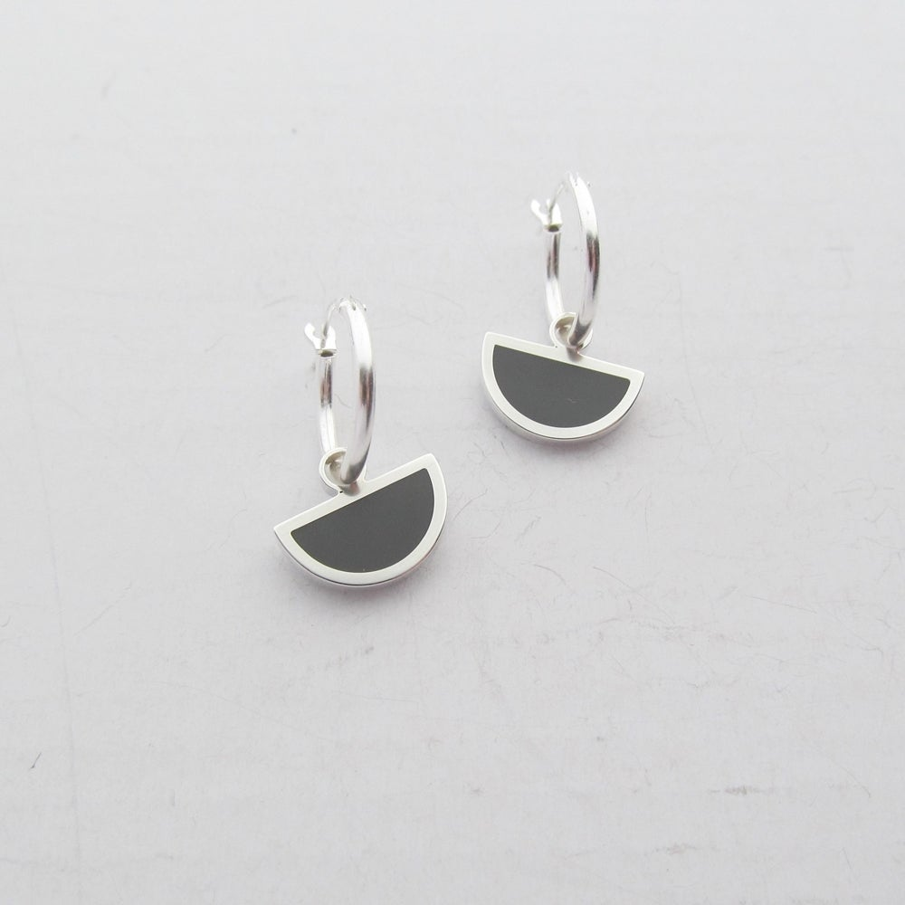 Image of Little Eclipse Creole Earrings in Slate Grey