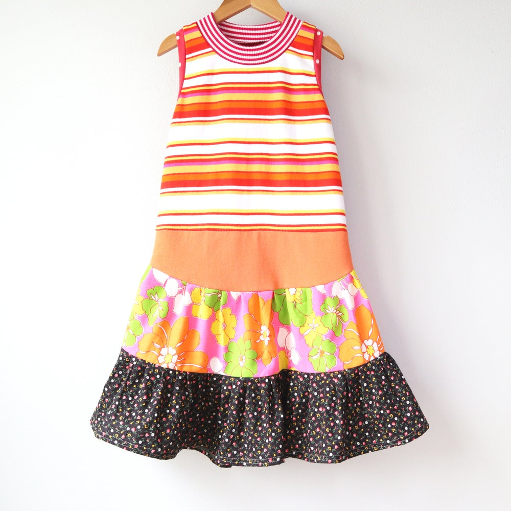 Image of citrus stripe groovy orange decades vintage floral 6/7 sleeveless swing dress summer tank