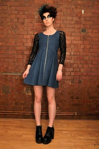 Image of DENIM ZIP POCKET DRESS (one left)