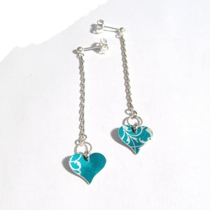 Image of Rococo Heart Long Drop Earrings