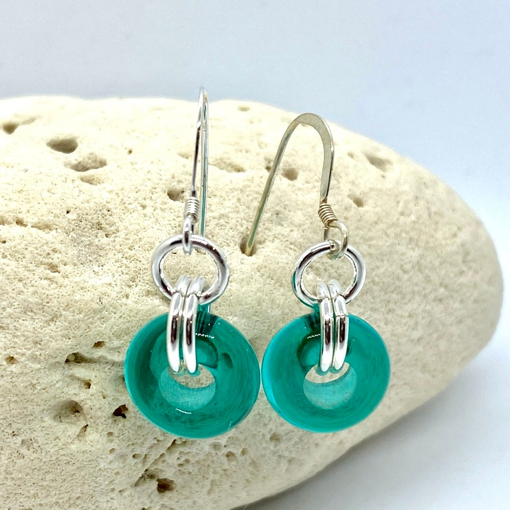 Image of Transparent Teal Wheel Earrings