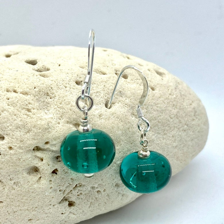 Image of Transparent Teal Single Earrings