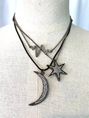 Gunmetal Pave Necklaces