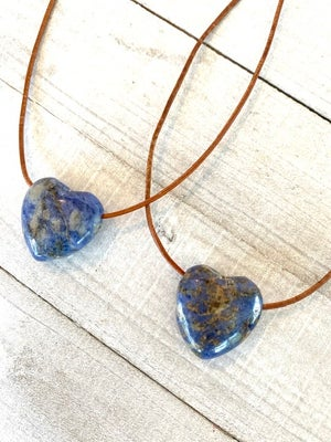 Lapis Hearts on Leather