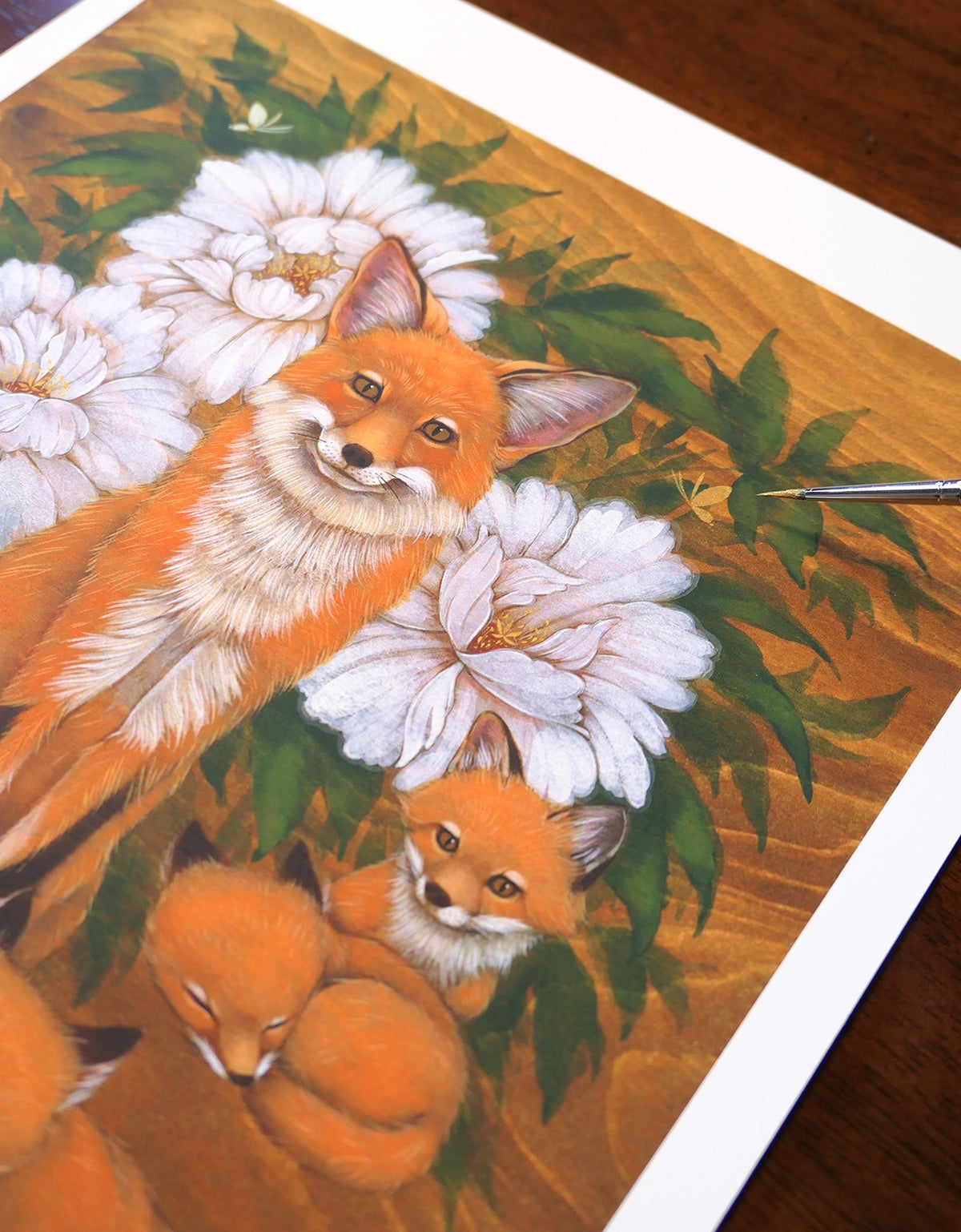 LTD Print - Foxes and Peonies