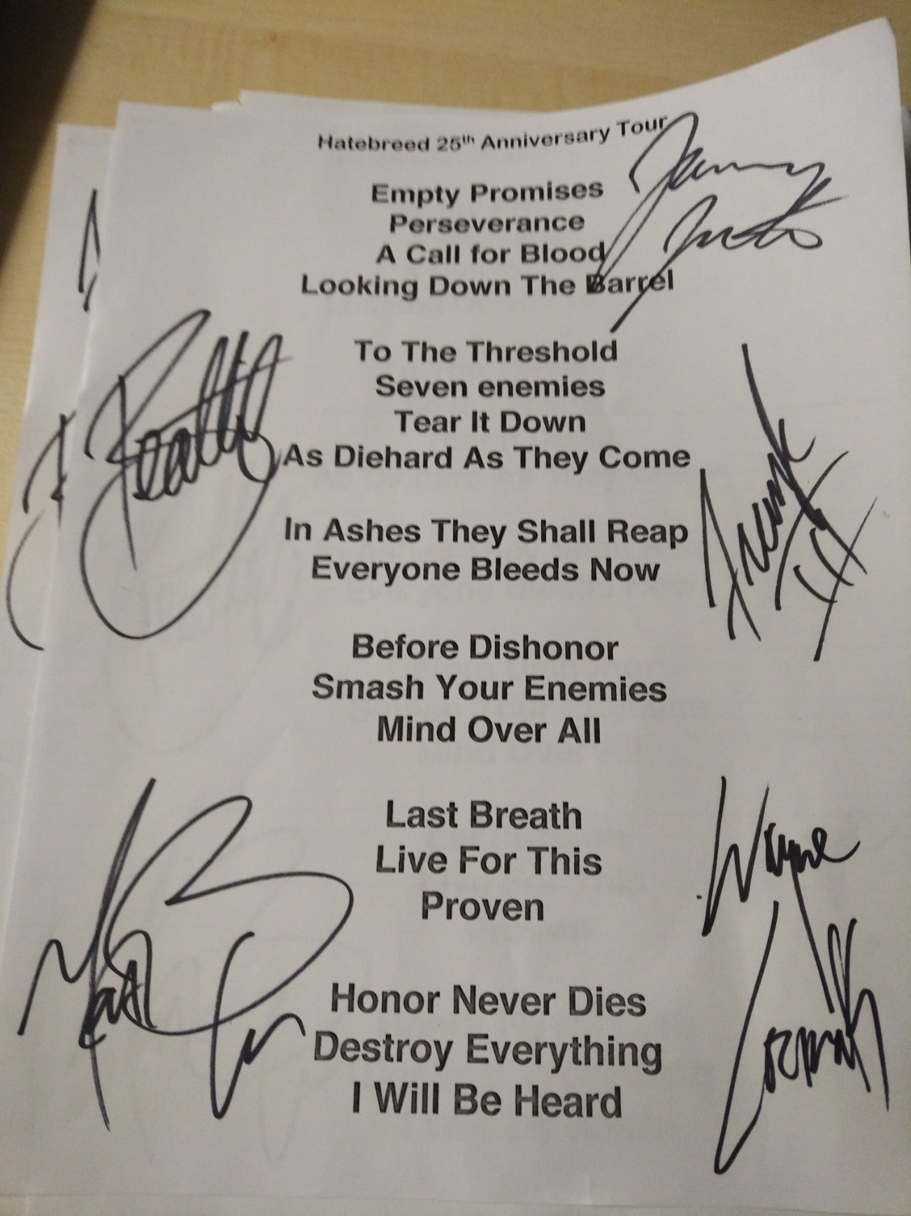 Image of HATEBREED SIGNED SET LIST FROM 2019