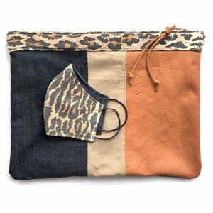 Image of LEOPARD TRIM TRI-COLOR POUCH