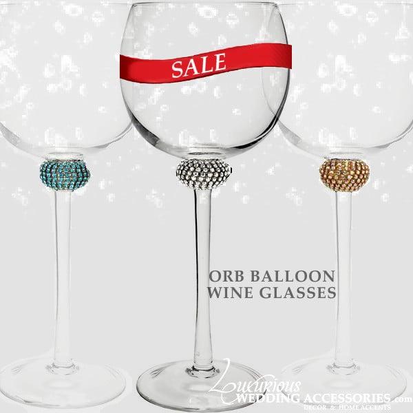 Image of 4 pcs. ORB Sparkling Crystal Red Wine Glasses