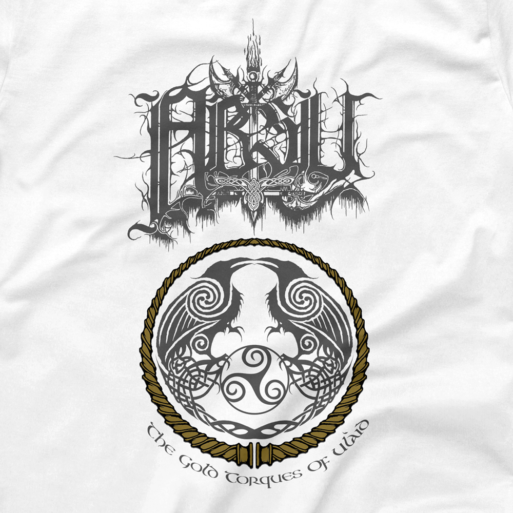 Image of ABSU - THE GOLD TORQUES OF ULAID (GOLD & GREY PRINT) IIII