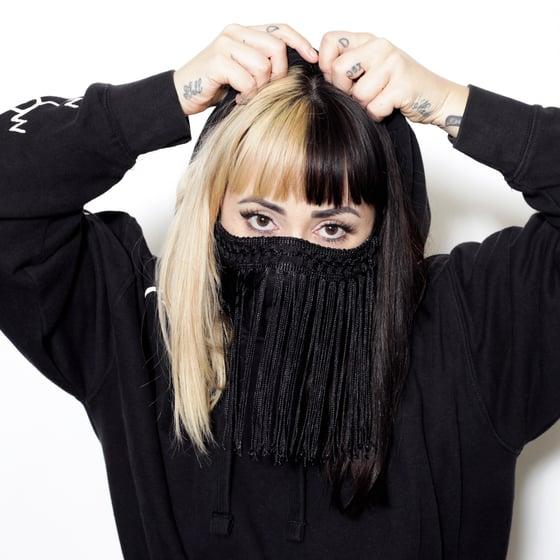 Image of Embellished fancy fringe face mask 100% cotton handmade futuristic