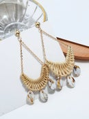 Image 1 of Cowrie Shell Knitted Swing Drop Earrings