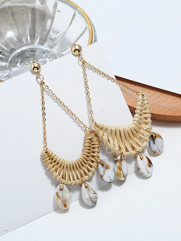 Image of Cowrie Shell Knitted Swing Drop Earrings