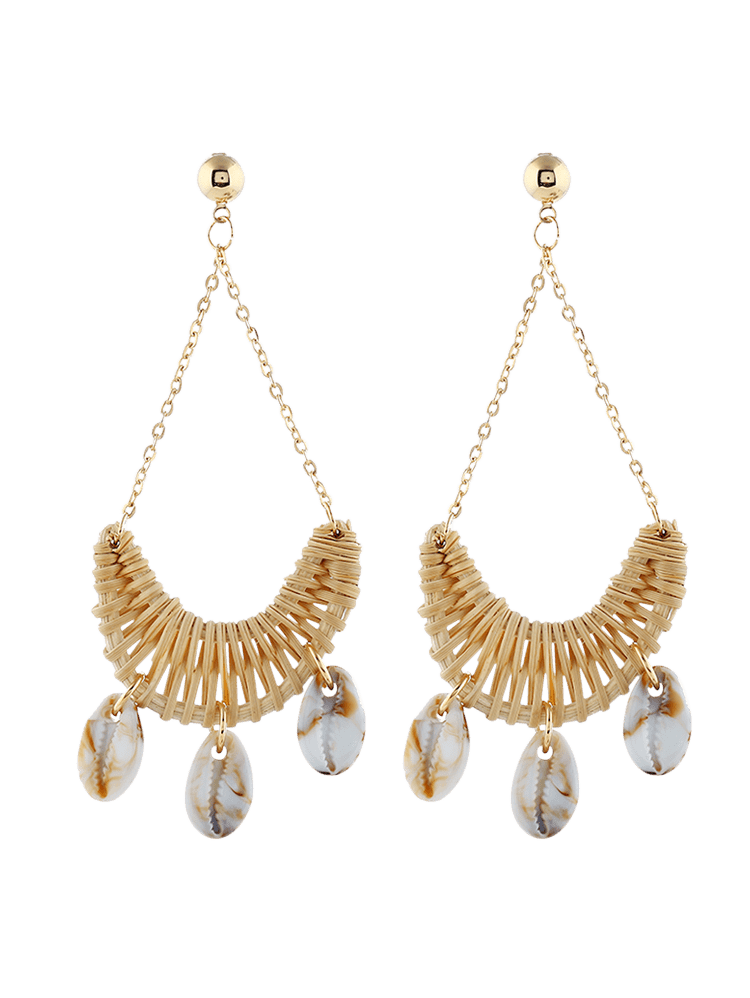 Cowrie Shell Knitted Swing Drop Earrings