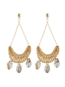 Image 3 of Cowrie Shell Knitted Swing Drop Earrings