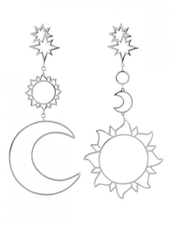 Hollow Sun + Moon Shapes Drop Earrings