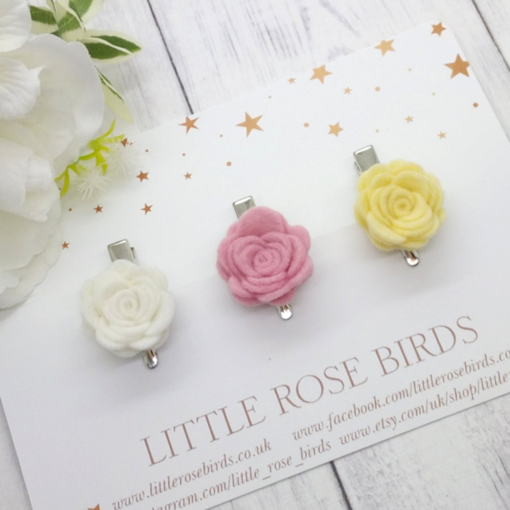 Image of CHOOSE YOUR COLOUR - 3 Small Felt Rose Headbands or Clips - Choice of 52 Colours