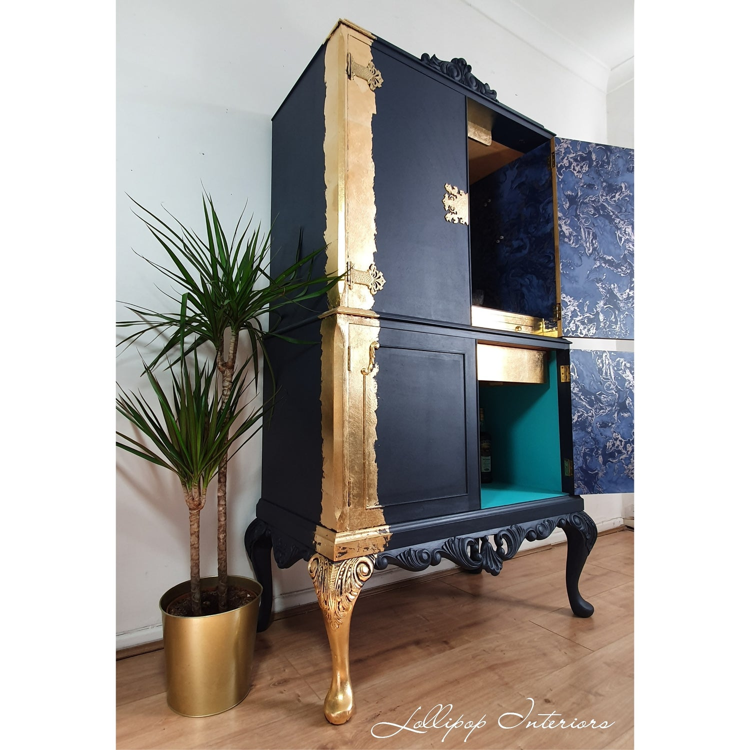 Image of Navy and gold leaf cocktail cabinet